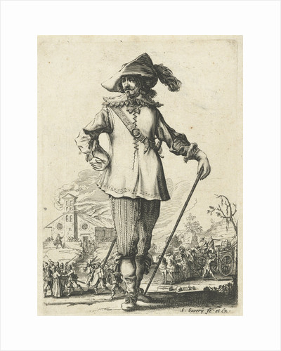 Standing officer with walking stick by Pieter Jansz. Quast