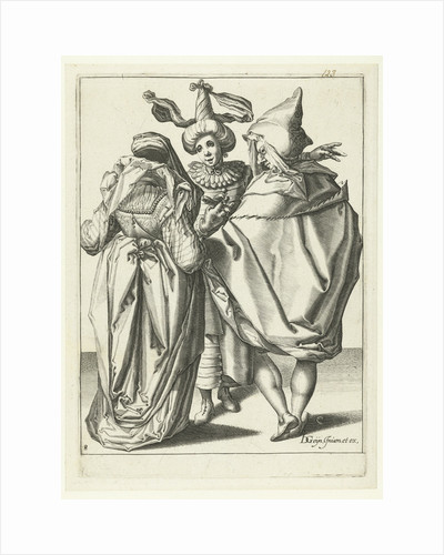 A woman dressed festively, a man in a cape and a masked man who extends his left arm by workshop of Jacob de Gheyn II