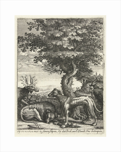 Landscape with a goat, moose and two dogs by Hendrick Hondius I