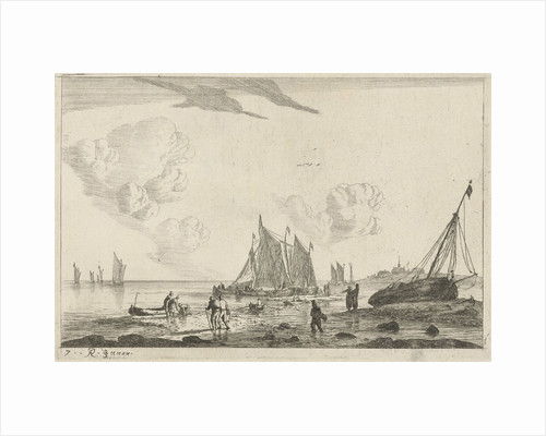 Beach with a sailing ship drawn on the sand by Reinier Nooms