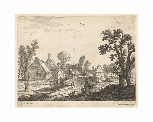Village with woman and child in the village street by Reinier and Josua Ottens