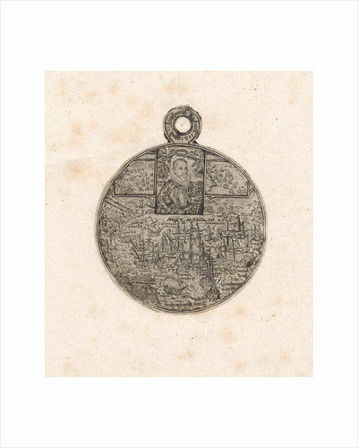 Print from the front of a medal engraved with the portrait and the death of Jacob van Heemskerck by Dirck Strijcker