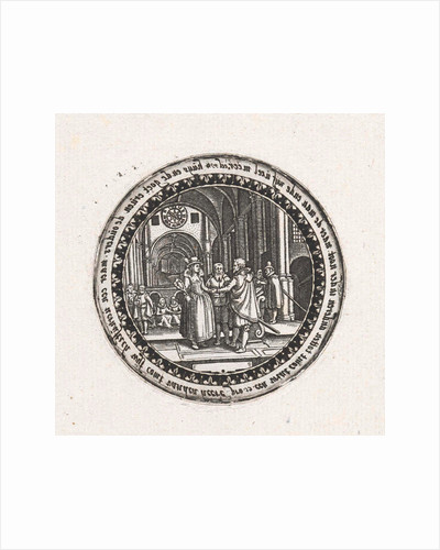 Print of a medallion with a depiction of a wedding ceremony in a church by Dirck Strijcker