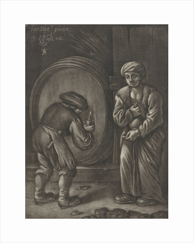 Two figures and a wine barrel by Jo. Lloyd