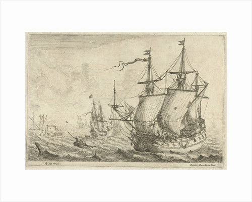 Seascape with several ships at a wharf by Reinier Nooms