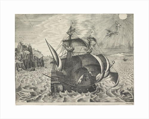 Sailing ship with the Fall of Icarus by Anonymous