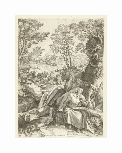 Landscape with St. Jerome who translates the Bible by Carlo Losi