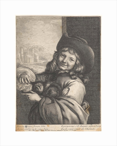 Smiling boy with cat, Lambert Visscher by Antoine François Dennel