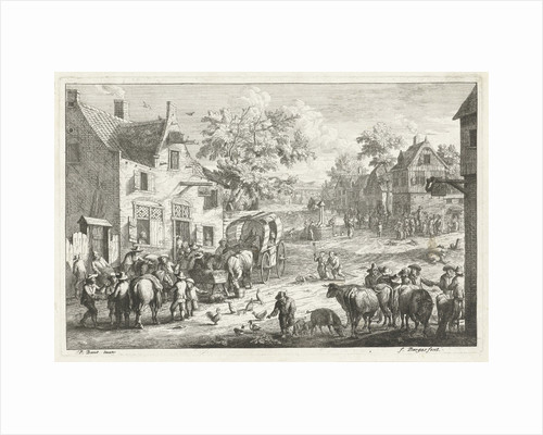 Village with travelers and cattle traders at inn by A.F. Bargas