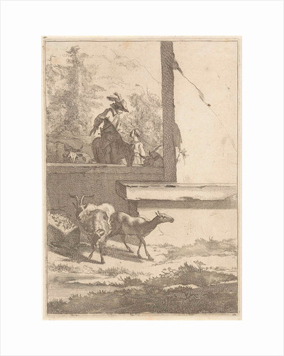Goats and one rider at a wall by Nicolaes Pietersz. Berchem