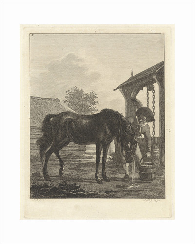 Man lets a horse drink from a bucket by Jan Anthonie Langendijk Dzn