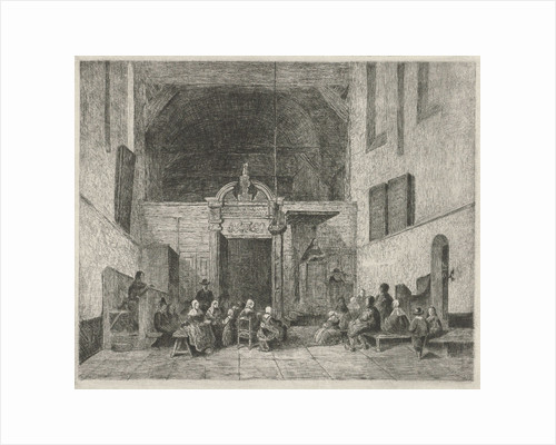Church service in a village church by Johannes Bosboom