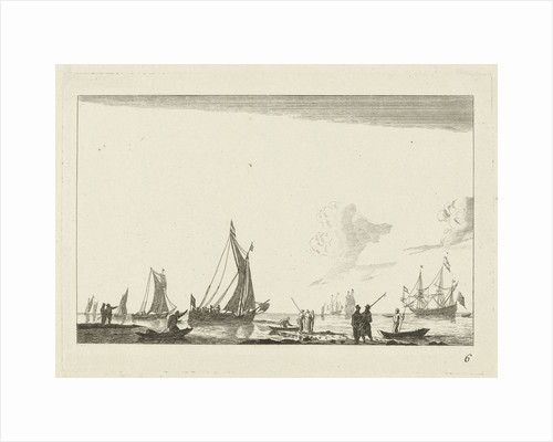 Backwater with several sailing ships by Reinier Nooms