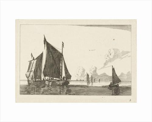 Three sailboats in calm water by Chéreau