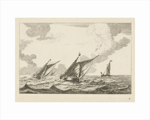 Three sailboats on a rough sea by Reinier Nooms