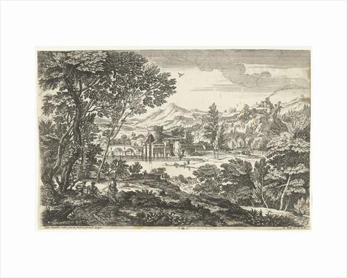 Landscape with three people under a tree by Adriaen van der Kabel
