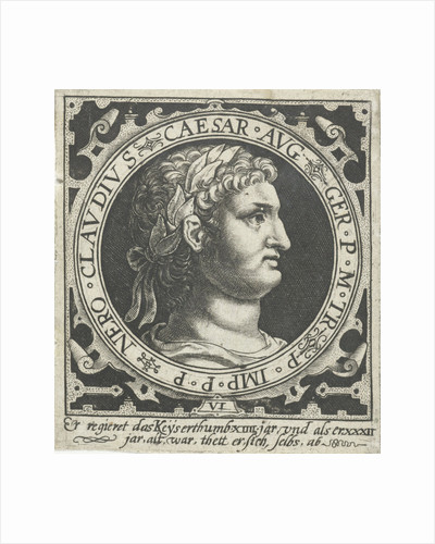 Portrait of Emperor Nero medallion by Nicolaes de Bruyn
