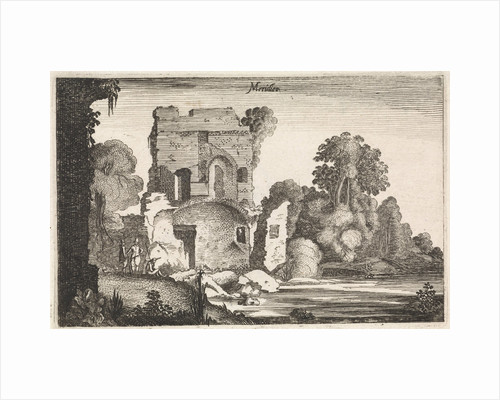 Figures in a ruined tower by Jan van de Velde II
