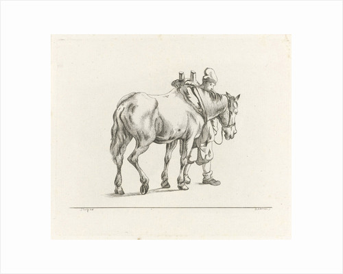Man walking next to a horse by Dirk Stoop
