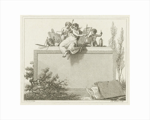 Pictura flanked by two putti by Jacob Ernst Marcus