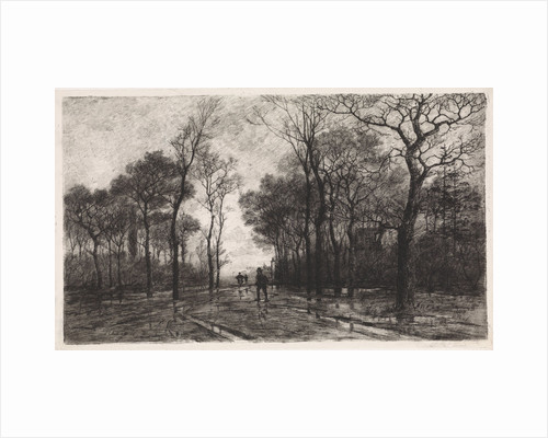 Three people on a road lined with trees by Elias Stark