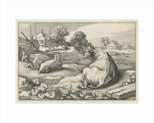 Pasture with three reclining cows by Nicolaes Visscher I