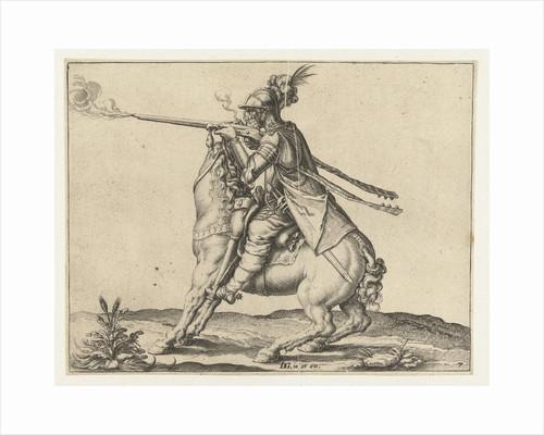 Horseman fires a shot with a harquebus by Jacob de Gheyn II