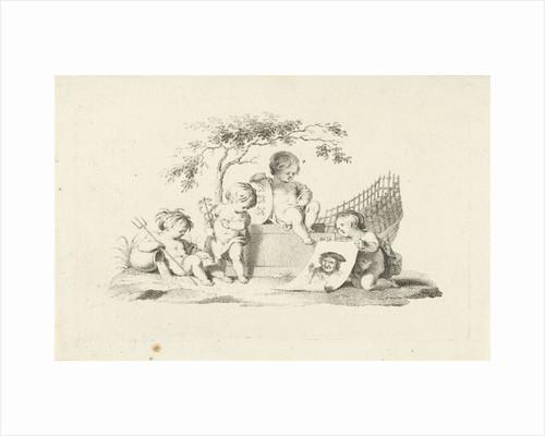 Four putti with a portrait of Adam Silo by Jacob van der Schley