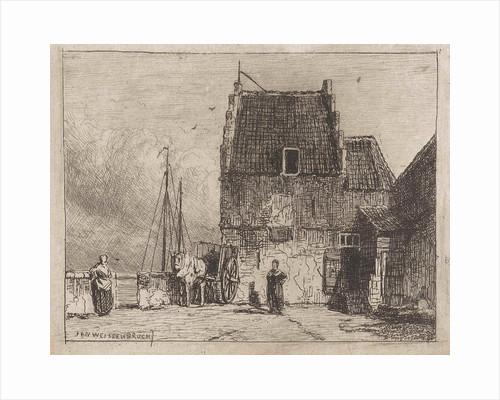 House on the waterfront in Nijmegen by Jan Weissenbruch