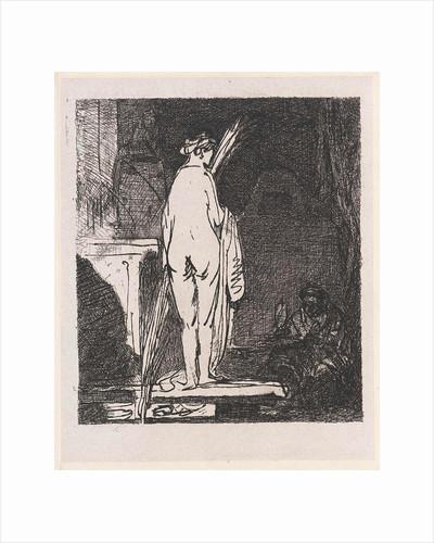 Artist draws a nude model by Rembrandt Harmensz. van Rijn