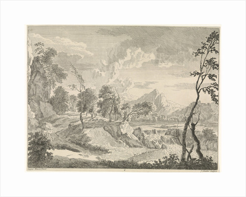 Hilly landscape with a waterfall by Johannes Glauber