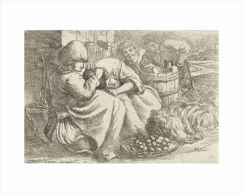 Old woman delouses a girl by Jan van Ossenbeeck