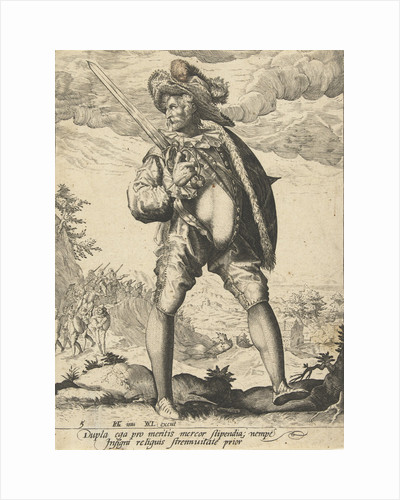 Soldier with sword and shield by Hendrick Goltzius