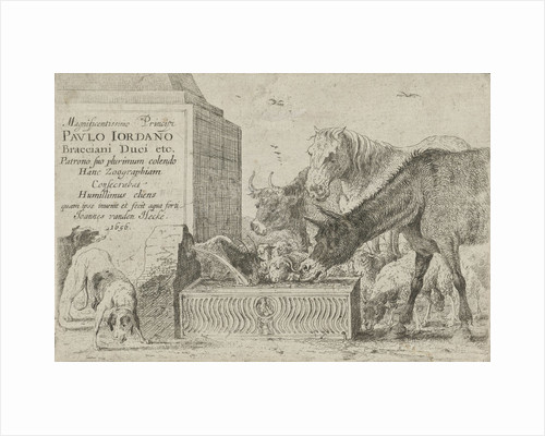 Animals at a fountain by Jan van den Hecke I