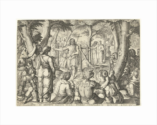 John the Baptist preaching to a group of people by Bartholomeus Willemsz. Dolendo