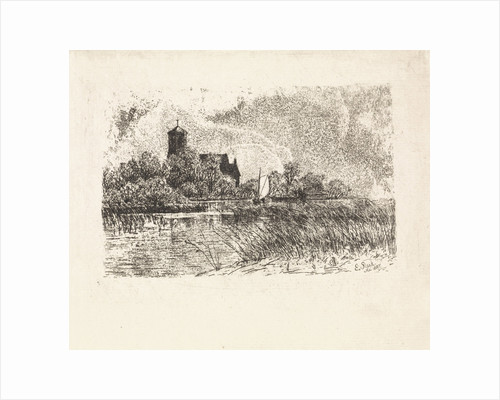 View of the Sint Urbanuskerk in Bovenkerk with on the water a sailing boat by Elias Stark