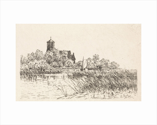 View of the St. Urban Church in Upper Church with the water a sailing boat by Elias Stark