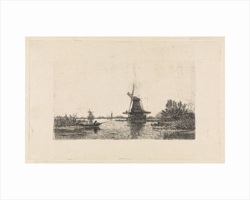Landscape with windmills and a rowboat by Elias Stark