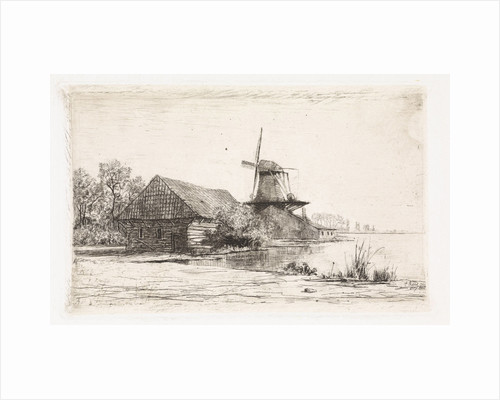 Barn and windmill on the water by Elias Stark