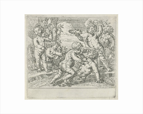 Fighting putti by Peter van Lint