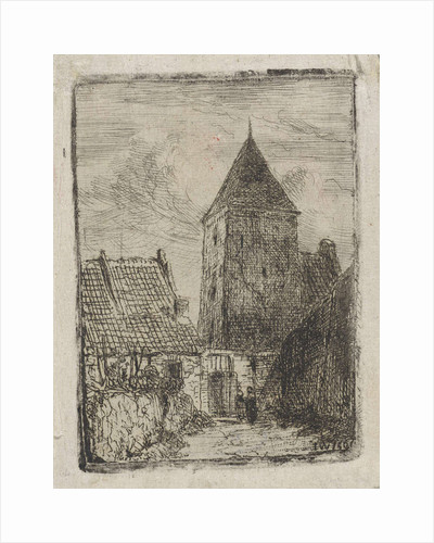 Square tower in Culemborg by Jan Weissenbruch