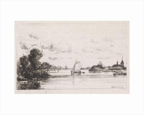 Sailing vessel near a village by Gijsbertus Johannes Verspuy