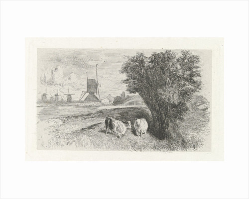 Cows at a road by Charles Rochussen