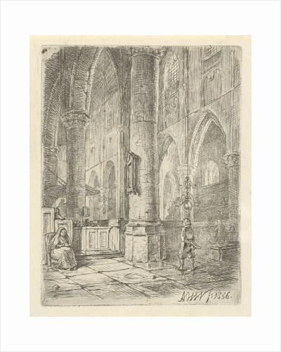 Church Interior with a boy and a seated woman by Adrianus Wilhelmus Nieuwenhuyzen