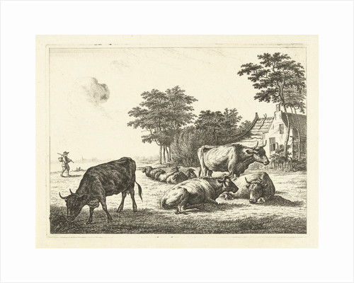 Cows and sheep lying in meadow before a farm by John of Cuylenburgh