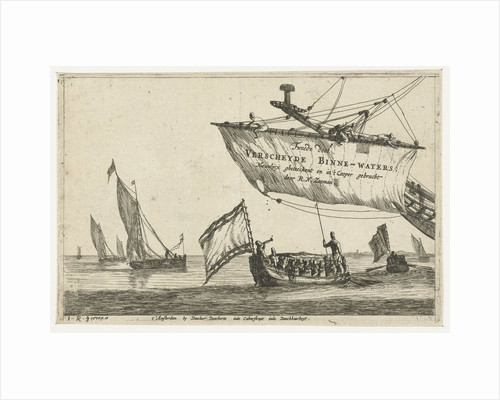 Vessel and sailing ships on calm water by Dancker Danckerts