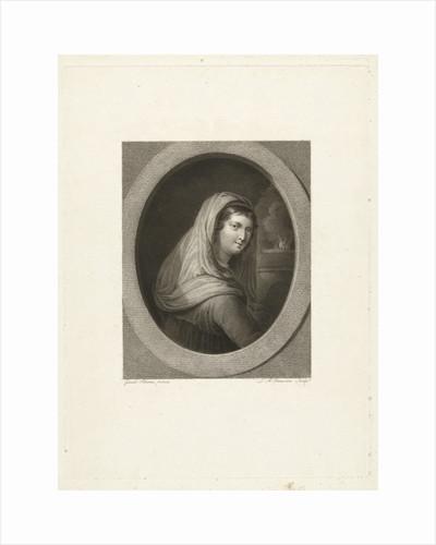 Young woman with veil by Lambertus Antonius Claessens