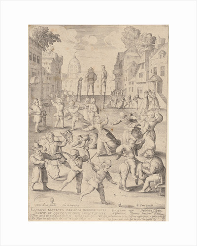 First life phase of ten years, with children playing by Pieter Goos