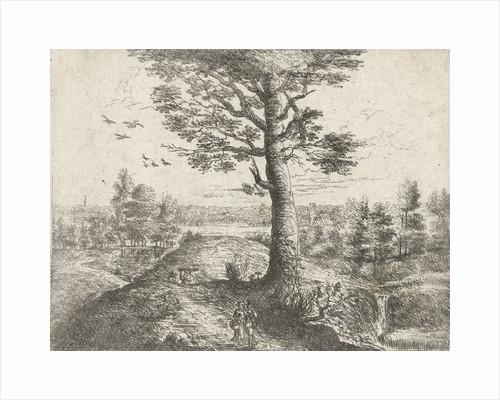 Landscape with a walking couple by Frans van den Wijngaerde