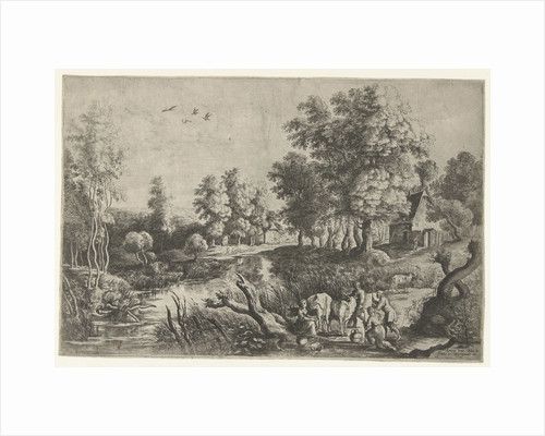 Peasants and cattle by a stream by Frans van den Wijngaerde